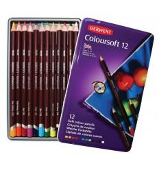 Набор цветных карандашей Derwent COLOURSOFT 12 цветов, в металлической коробке