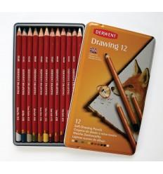 Набор цветных карандашей Derwent DRAWING 12 цветов, в металлической коробке