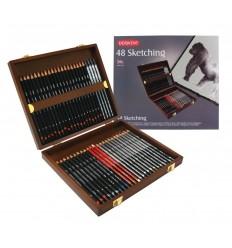 Набор чернографитных карандашей Derwent SKETCHING, 48 карандашей в деревянной коробке