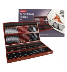 Набор чернографитных карандашей Derwent SKETCHING, 72 карандаша в деревянной коробке