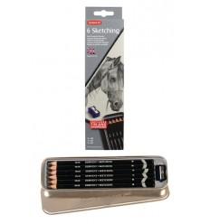 Набор чернографитных карандашей Derwent SKETCHING, 6 карандашей в металлической коробке, точилка