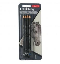 Набор чернографитных карандашей Derwent SKETCHING, 4 карандаша в блистере