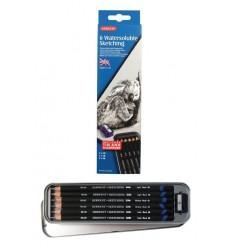 Набор водорастворимых графитовых карандашей Derwent WATERSOLUBLE SKETCHING, 6 карандашей в металлической коробке, точилка