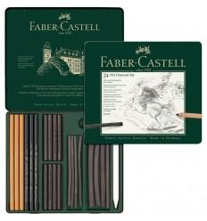 Набор угля для рисования FABER-CASTELL Pitt Charcoal Set, 24 предмета, в металлической коробке