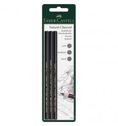 Натуральный угольный карандаш FABER-CARSTELL Pitt MONOCHROME, 3 штуки в блистере