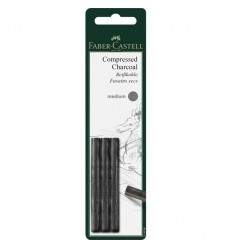 Пресованный угольный карандаш FABER-CARSTELL Pitt MONOCHROME, 3 штуки в блистере