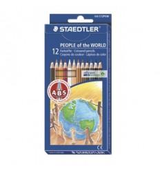 Набор цветных шестигранных карандашей STAEDTLER Noris Club Народы мира, 12 цветов