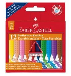 Цветные восковые мелки стирающиеся FABER-CASTELL GRIP, 12цветов