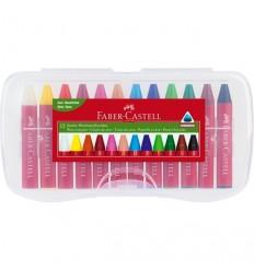 Цветные восковые мелки FABER-CASTELL JUMBO, 12 цветов в пластиковом пенале