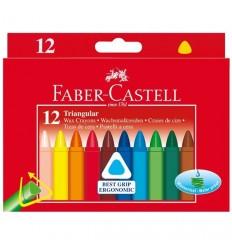 Цветные восковые мелки FABER-CASTELL TRIANGULAR, 12 цветов