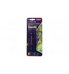 Набор цветных акварельных карандашей DERWENT INKTENSE, 6 цветов в блистере