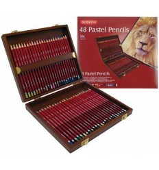 Набор пастельные цветных карандашей DERWENT PASTE, 48 цветов в деревянной коробке