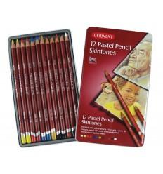 Набор пастельные цветных карандашей DERWENT PASTE, 12 цветов оттенков кожи в металлической коробке