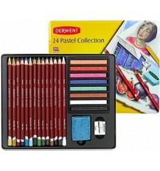 Набор пастельных карандашей DERWENT PASTEL COLLECTION, 24 предмета в металлической коробке