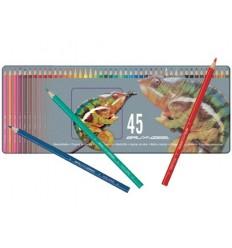 Набор цветных карандашей Bruynzeel Хамелеон 45 цветов, ластик, точилка в металлической коробке