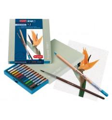 Набор цветных акварельных карандашей Bruynzeel DESIGN, 12 цветов, кисть, в подарочной упаковке