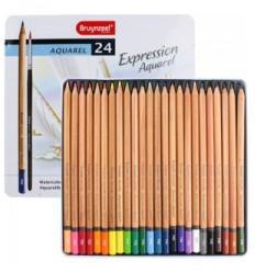 Набор цветных акварельных карандашей Bruynzeel Expression Aquarel, 24 цвета, кисть, в метал. коробке