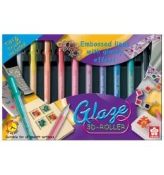 Набор гелевых ручек  SAKURA GLAZE 3D-ROLLER, 10 глянцевых цветов в картонной коробке