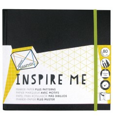Скетчбук для маркеров DERWENT INSPIRE ME,  200х200мм, 120гр, 80л.