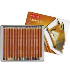 Набор цветных карандашей Derwent DRAWING 24 цвета природы, в металлической коробке