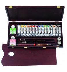 Акриловые краски в тюбиках REMBRANDT ROYAL TALENS 15 цветов по 40мл, медиум, лак, кисти, уголь и мастихин в деревянной коробке