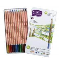 Набор акварельных карандашей Academy DERWENT 12 цветов в металлической коробке