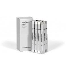 Набор маркеров кисти STYLEFILE BRUSH 12шт. оттенки серый теплый