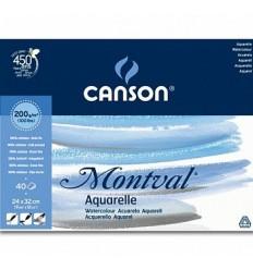 Альбом для акварели CANSON Montval 24*32см, 200гр. 40л., среднее зерно Фин, склейка по длинной стороне