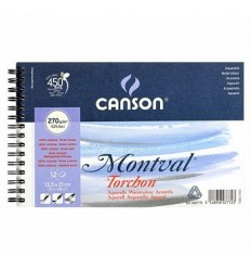 Альбом для акварели CANSON Montval TORCHON 13.5*21см, 270гр. 12л., Снежное зерно, спираль