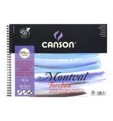 Альбом для акварели CANSON Montval TORCHON 24*32см, 270гр. 12л., Снежное зерно, спираль