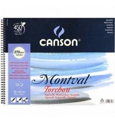 Альбом для акварели CANSON Montval TORCHON 32*41см, 270гр. 12л., Снежное зерно, спираль