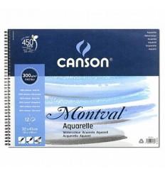 Альбом для акварели CANSON Montval FIN 32*41см, 300гр. 12л., среднее зерно, спираль