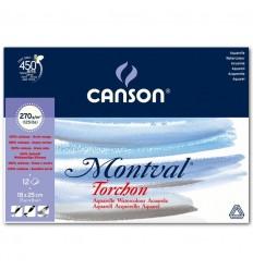 Альбом для акварели CANSON Montval TORCHON 18*25см, 270гр. 12л., Снежное зерно, склейка