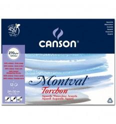 Альбом для акварели CANSON Montval TORCHON 24*32см, 270гр. 12л., Снежное зерно, склейка