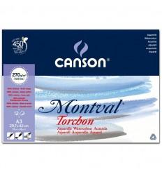 Альбом для акварели CANSON Montval TORCHON 29.7*42см, 270гр. 12л., Снежное зерно, склейка