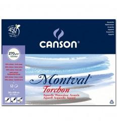 Альбом для акварели CANSON Montval TORCHON 36*48см, 270гр. 12л., Снежное зерно, склейка