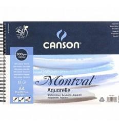 Альбом для акварели CANSON Montval FIN 18*25см, 300гр. 12л., среднее зерно, склейка