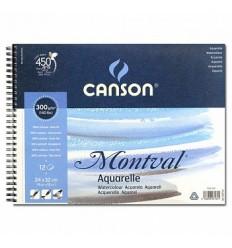 Альбом для акварели CANSON Montval FIN 24*32см, 300гр. 12л., среднее зерно, склейка