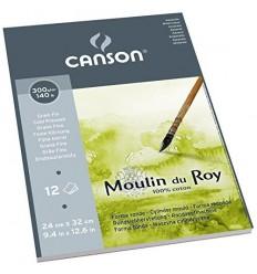 Альбом для акварели CANSON Moulin du Roy FIN 24*32см, 300гр. 12л., бумага мелкое зерно, склейка