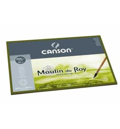 Блок для акварели CANSON Moulin du Roy FIN 30.5*45.5см, 300гр. 20л., бумага мелкое зерно, склейка по 4-м сторонам