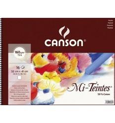 Альбом для пастели CANSON Mi-Teintes 32x41см, 160гр. 16л., бумага фактурная белая, спираль