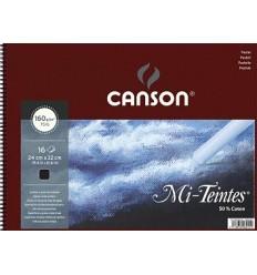 Альбом для пастели CANSON Mi-Teintes 24*32см, 160гр. 16л., бумага фактурная черная, спираль