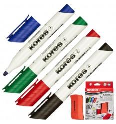 Набор маркеров для досок Kores 20863 с губкой, круглый наконечник 3мм,  4 цвета