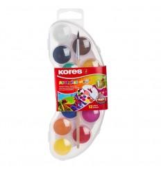 Акварельные матовые краски Kores, 12 цветов (пластиковая упаковка)