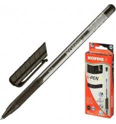 Ручка шариковая Kores К2 с резиновой манжеткой, 0.5 мм, черная