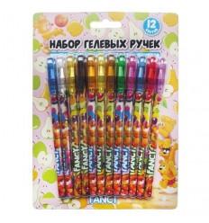 Набор ароматизированных гелевых ручек с блестками FANCY, 0.5мм, 12 цветов