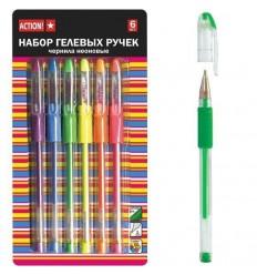Набор гелевых ручек неоновых ACTION! с манжетками, 0.5мм, 6 цветов