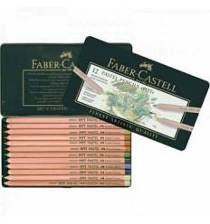 Набор цветных пастельных карандашей FABER-CASTELL Pitt, 12 цветов в металлической коробке
