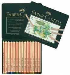 Набор цветных пастельных карандашей FABER-CASTELL Pitt, 24 цвета в металлической коробке