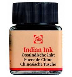 Тушь чертёжно-рисовальная Talens Indian Ink для каллиграфии, 30 мл., Черная
